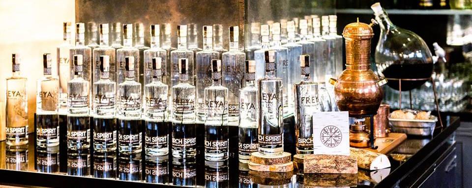 Freya Birch Spirit range displayed on a bar